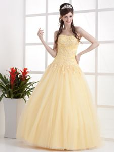 Pretty Light Yellow Strapless Full-length College Grad Dresses with Beading