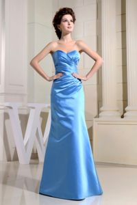 Simple Baby Blue Sweetheart Full-length University Graduation Dress in Erie