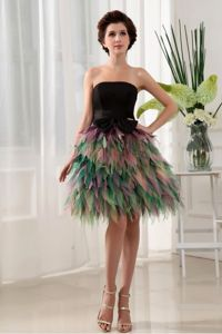 Exclusive Colorful Strapless Short College Grad Dress with Bow and Ruffles