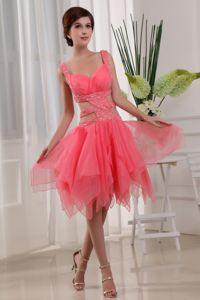 Watermelon Red Knee-length Pageant Grad Dress with Beading and Straps