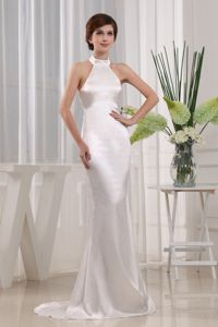 Modest Halter White Court Train Graduation Dress for High School in Dallas