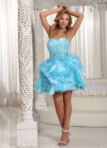 Wholesale Aqua Blue Sweetheart Mini-length Graduation Dress with Ruffles