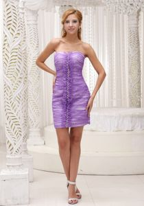 Modest Strapless Lavender Short University Graduation Dresses with Ruffles