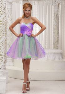Lovely Ombre Color Sweetheart Short High School Grad Dress with Flower