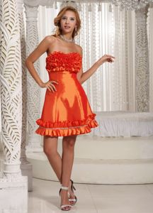 Special Orange Red Strapless Short University Graduation Dress with Ruffles