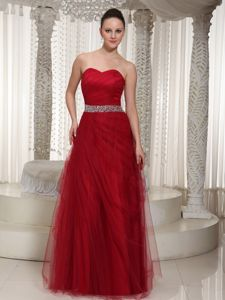 Elegant Wine Red Sweetheart Floor-length College Grad Dress with Beading