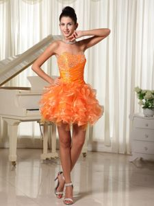 Bright Orange Beaded Sweetheart Short Grad Dresses with Ruffles in Irving
