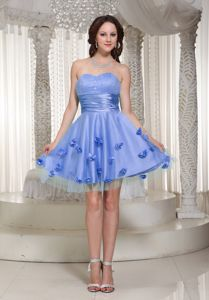 Lovely Lilac Sweetheart Mini-length Middle School Grad Dress with Flowers