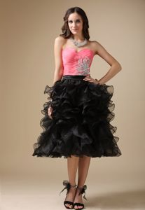 Lovely Watermelon Red and Black Sweetheart Graduation Dress with Ruffles