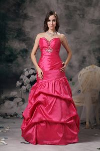 Special Coral Red Sweetheart Long College Graduation Dress with Pick-ups