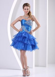 Cute Sky Blue Beaded Sweetheart Short Graduation Dress with Ruffle-layers