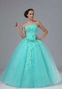 Apple Green Strapless Long Graduation Dresses with Appliques and Flowers