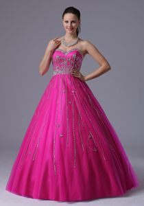 Sweetheart Fuchsia Full-length College Grad Dress with Beading Over Skirt