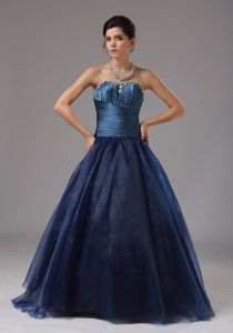 Navy Blue Beaded Strapless Floor-length Middle School Graduation Dresses