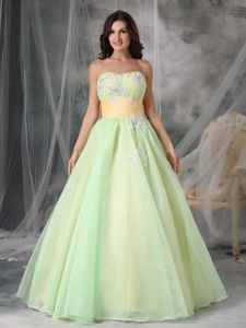Popular Yellow Green Strapless Long College Grad Dresses with Appliques