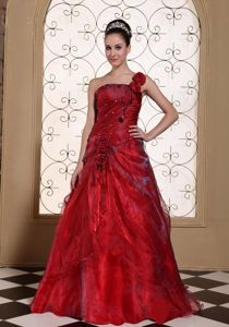 Luxurious Wine Red One Shoulder Long Pageant Grad Dresses with Flowers