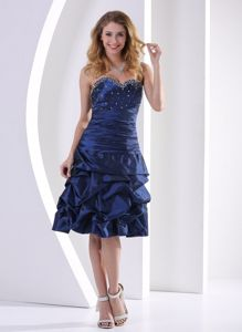 Navy Blue Sweetheart Graduation Dress with Beading and Pick-ups in Katy