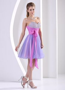 Lavender and Lilac Sweetheart Mini-length Graduation Dresses with Beading