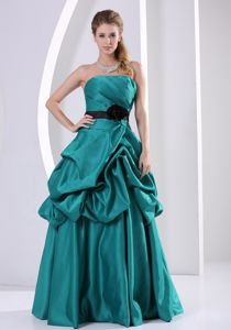 Strapless Turquoise Long Formal Graduation Dress with Flower and Pick-ups
