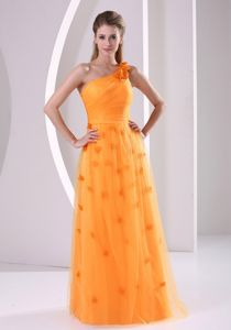 Orange Flower Single Shoulder Long High School Grad Dress with Appliques