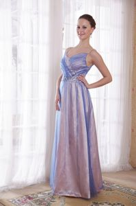Beautiful Lilac Beaded Floor-length University Graduation Dress with Straps