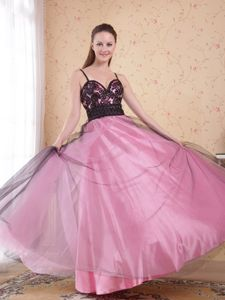 Rose Pink Full-length College Graduation Dresses with Straps and Appliques