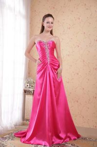 Pretty Hot Pink Beaded Sweetheart Brush Prom Dress for Graduation in Tyler