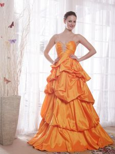 Orange Beaded Full-length University Grad Dresses with Pick-ups and Straps