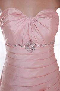 Cute Baby Pink Ruched Sweetheart Floor-length College Graduation Dresses