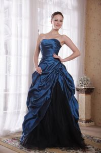 Pretty Strapless Navy Blue Long Graduation Dress with Flower and Pick-ups