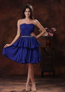 Hot Sale Navy Blue Strapless Short Grad Dresses for High School with Layers