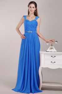 Sky Blue Ruched Full-length Prom Dress for Graduation with Beaded Straps