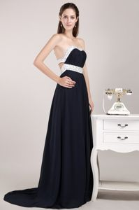 Backless Black and White Beaded Brush Prom Dress for Graduation in Katy