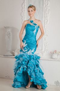 Turquoise Mermaid One Shoulder Beaded Grad Dress with Ruffles Ruches