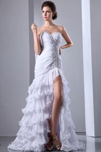 White Column Sweetheart Beaded Sweep Train Senior Dresses with Ruffle