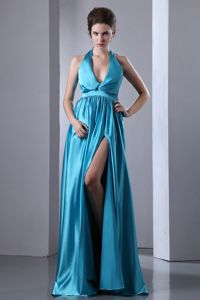 Turquoise Plunging Neckline Ruched Grad Dress with Floor-length and Slit