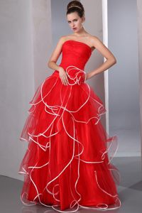 Red Strapless Ruffled Floor-length Girl Graduation Dresses with Ruches