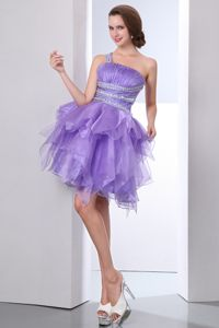 Purple One Shoulder Mini-length Beaded Grad Dress with Ruffle and Ruches