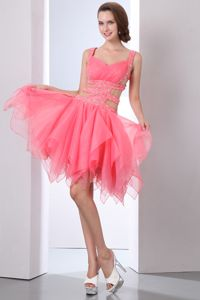 Watermelon Straps Mini-length Grad Dresses with Beading and Cutouts