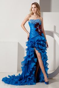 Royal Blue Sweetheart High-low Ruched Girl Grad Dress with Beads