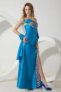Royal Blue Strapless Beaded Long Senior Girl Dress with Ruche and Slit