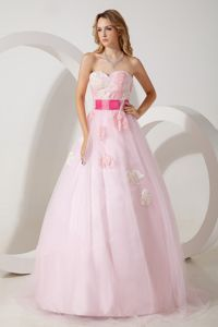 Baby Pink A-line Sweetheart Floor-length Grad Dress with Appliques