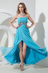 Aqua Blue Empire Sequined Senior Dresses with Ruches and Slit
