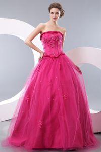 Unique Hot Pink Princess Strapless Grad Dress for Senior with Beads