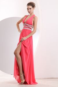 Sexy Watermelon Plunging Neckline Beaded Slit College Senior Dress