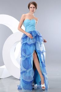 Blue Sweetheart Ruffled Full-length Graduation Dress with Beading Slit