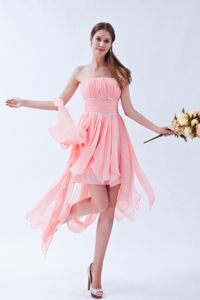 Watermelon Strapless Beaded Sash College Senior Graduation Dress