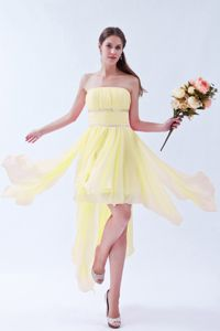 Light Yellow Strapless Mini-length Graduation Dress with Beaded Sash