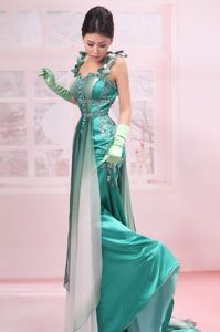 Turquoise Straps Beaded Chiffon Brush Train Graduation Dresses