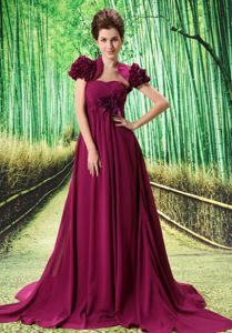 Fuchsia Handmade Flowers Sweep Train Grad Dress with Cap Sleeves